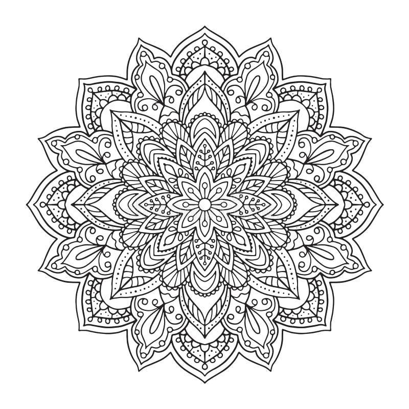 Svart indisk mandala på vit bakgrund Dekorativ blommateckning för meditationfärgläggningbok Etnisk blom- design royaltyfri illustrationer