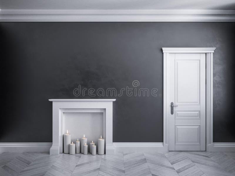 Svart inre för klassiker med dörren, parketten och spisen med stearinljus vektor illustrationer