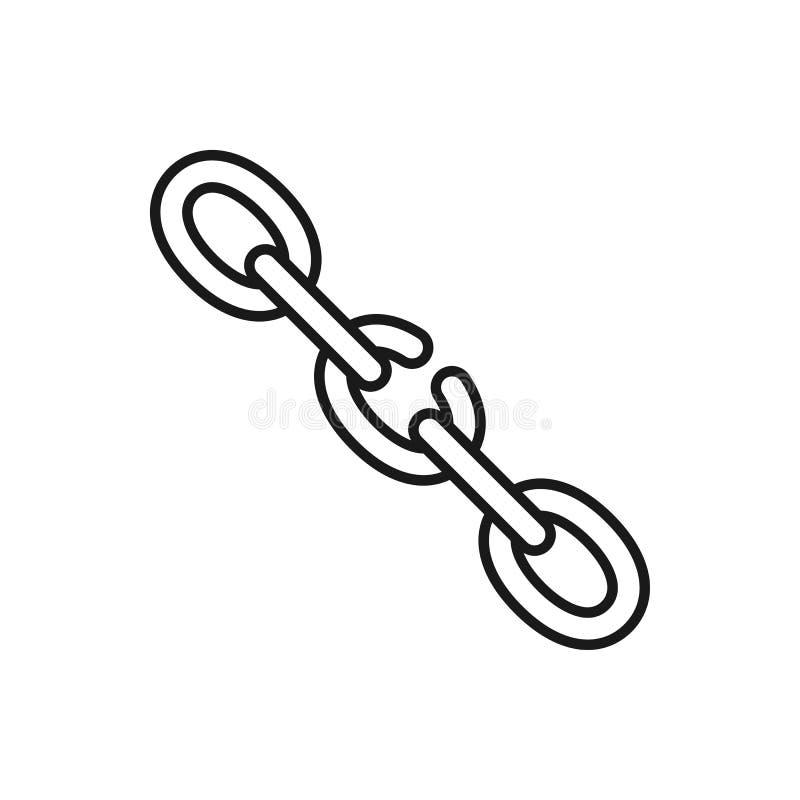 Svart isolerad översiktssymbol av den brutna kedjan på vit bakgrund Linje symbol av den svaga sammanlänkningen för kedja royaltyfri illustrationer