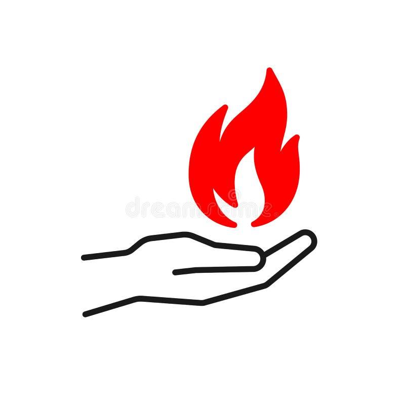 Svart isolerad översiktssymbol av flamman i hand på vit bakgrund Kontur av röd brand och den svarta linjen hand Plan design symbo royaltyfri illustrationer