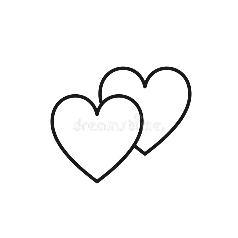 Svart isolerad översiktssymbol av två hjärtor på vit bakgrund Linje symbol av två hjärtor Symbol av förälskelse vektor illustrationer