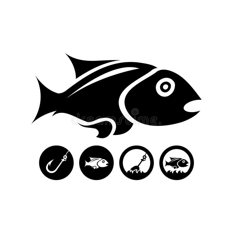 Svart isolerad fisk stock illustrationer