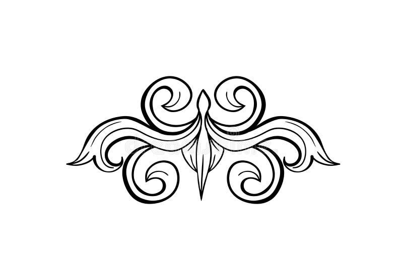 Svart isolerad hand dragen blom- grekisk garnering stock illustrationer