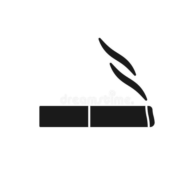 Svart isolerad symbol av cigaretten p royaltyfri illustrationer