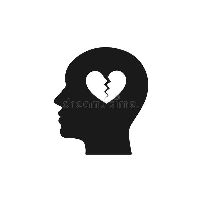 Svart isolerad symbol av huvudet av mannen och bruten hjärta på vit bakgrund Kontur av huvudet av mannen Symbol av skilsmässan, a vektor illustrationer