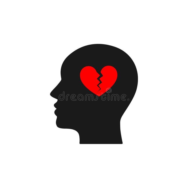 Svart isolerad symbol av huvudet av mannen och röd bruten hjärta på vit bakgrund Kontur av huvudet av mannen Symbol av skilsmässa royaltyfri illustrationer