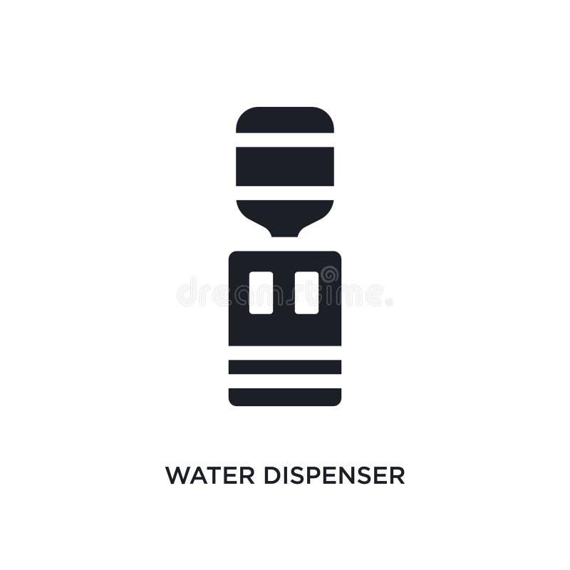 svart isolerad vektorsymbol för vatten utmatare enkel beståndsdelillustration från symboler för möblemang- och hushållbegreppsvek vektor illustrationer