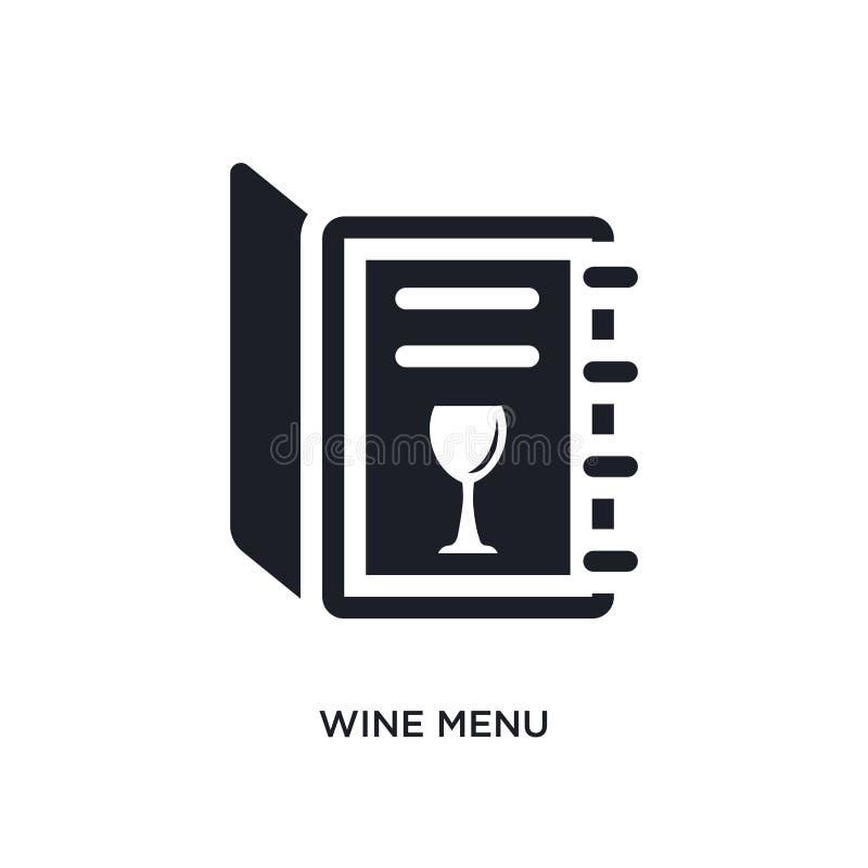 svart isolerad vektorsymbol för vin meny enkel best?ndsdelillustration fr?n symboler f?r hotell- och restaurangbegreppsvektor Vin royaltyfri illustrationer