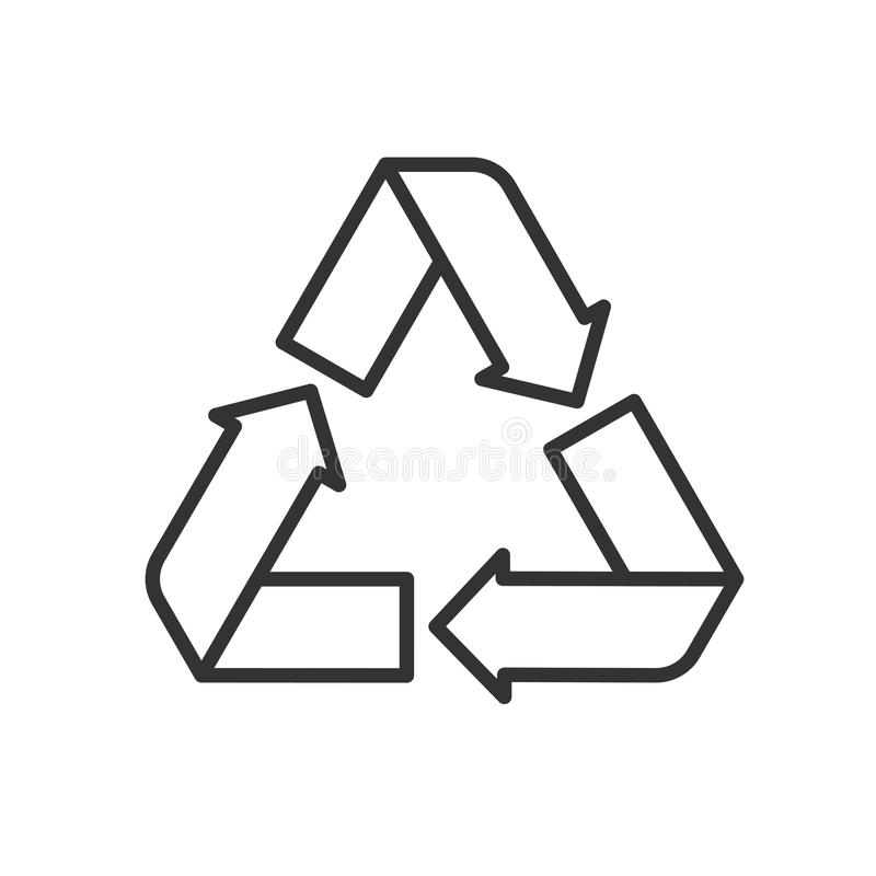 Svart isolerade översiktssymbolen av återanvänder på vit bakgrund Linje symbol av simbolen av återvinning stock illustrationer