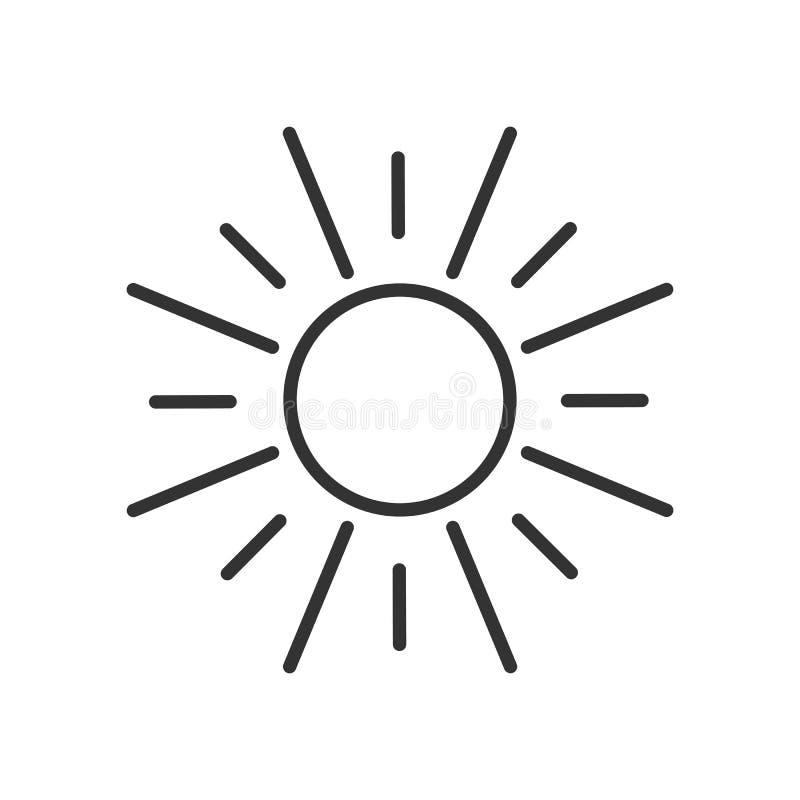 Svart isolerade översiktssymbolen av solen på vit bakgrund linje symbol av solen stock illustrationer
