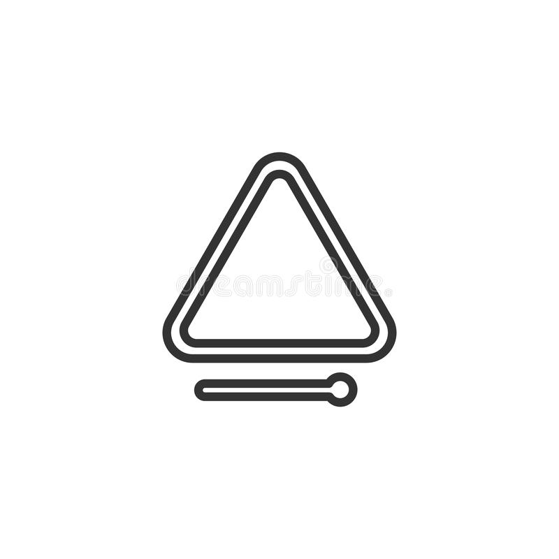 Svart isolerade översiktssymbolen av triangeln på vit bakgrund Linje symbol av slagverkmusikinstrumentet stock illustrationer