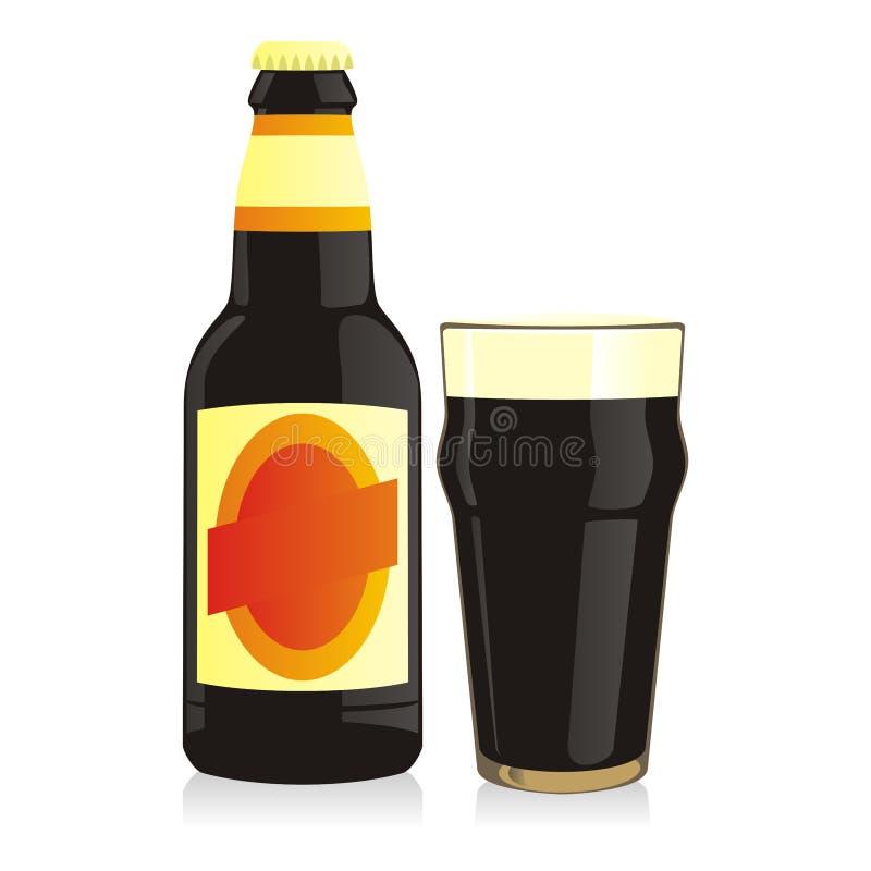 svart isolerat flaskexponeringsglas för öl vektor illustrationer