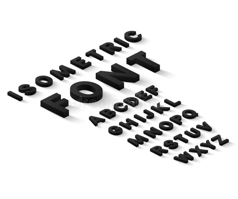 Svart isometriskt stilsortsalfabet vektor illustrationer
