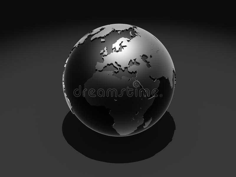 svart jordklot royaltyfri illustrationer
