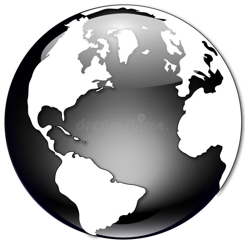 svart jordklotillustrationwhite stock illustrationer