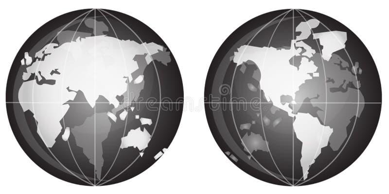 svart jordklotwhite arkivbilder