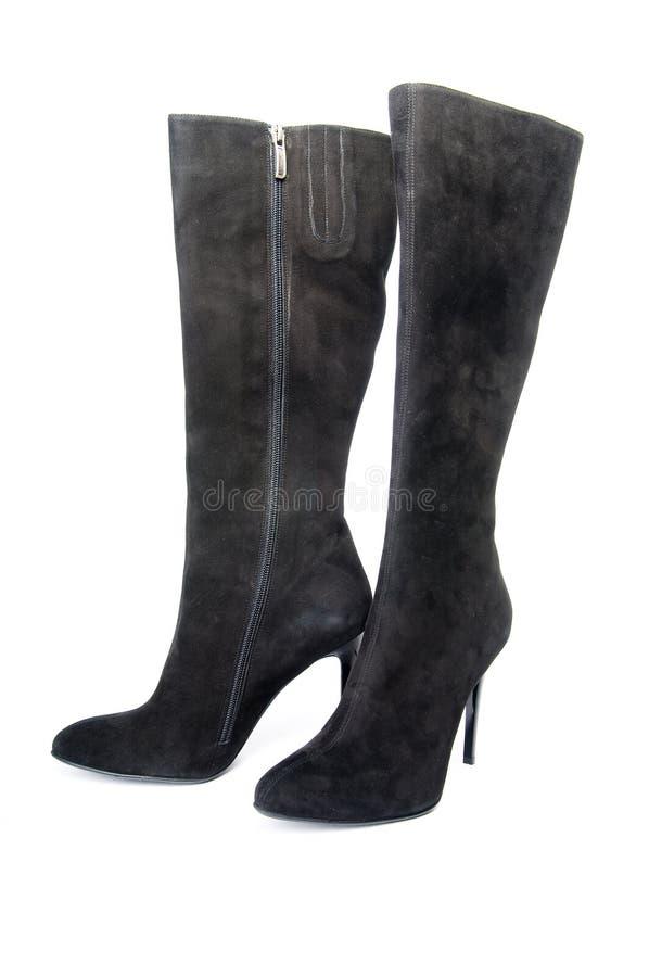 svart kängakvinnligsuede arkivbild