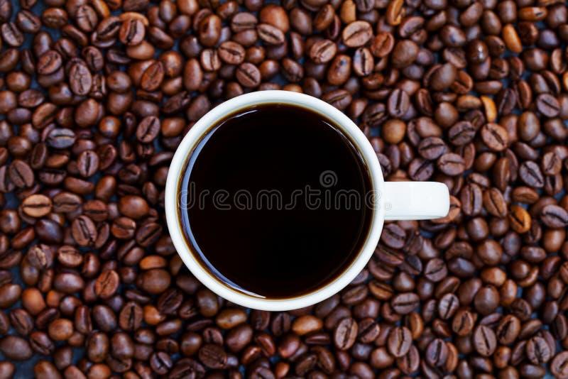 Svart kaffe i den vita koppen på nytt grillad bakgrund för kaffebönor Top besk?dar kopiera avst?nd royaltyfri fotografi