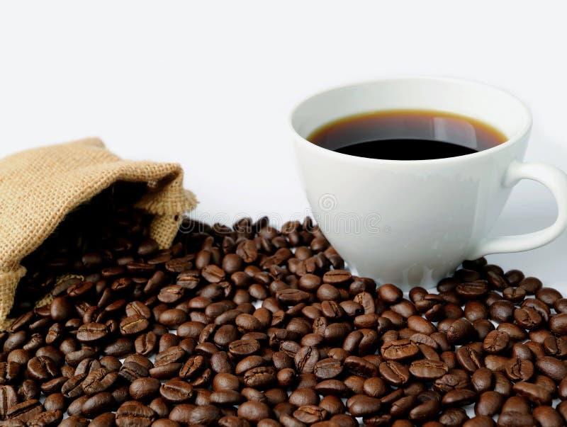 Svart kaffe i en vit kopp på högen av grillade kaffebönor spridda från säckvävpåse arkivbild