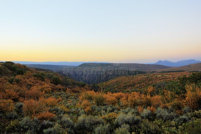 Svart kanjon av Gunnisonen, Colorado, USA fotografering för bildbyråer