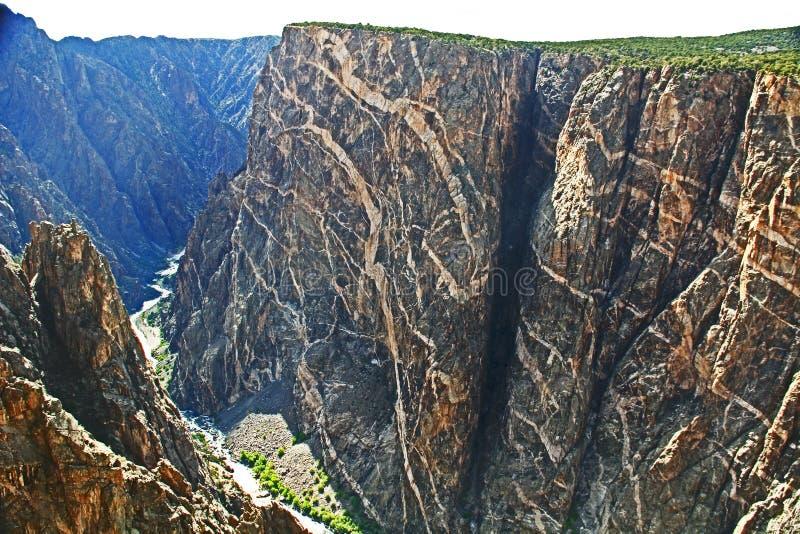 Svart kanjon av Gunnisonen på den målade väggsikten arkivfoto