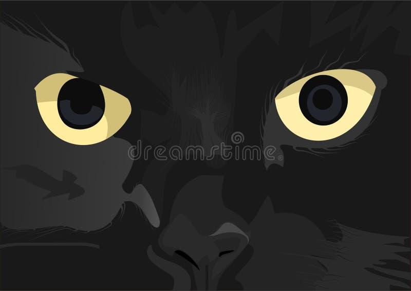 svart katt royaltyfri illustrationer