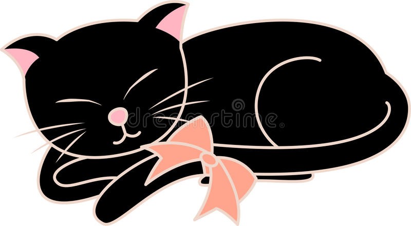 svart katt stock illustrationer