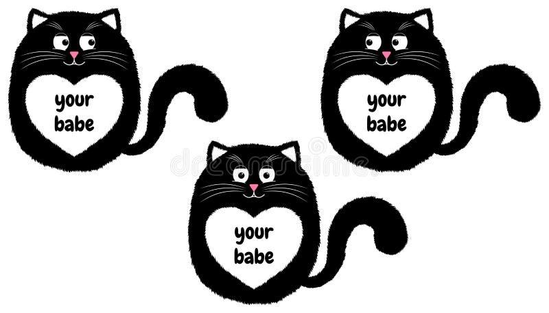 Svart katt för vektor i tecknad filmstil 3 stock illustrationer