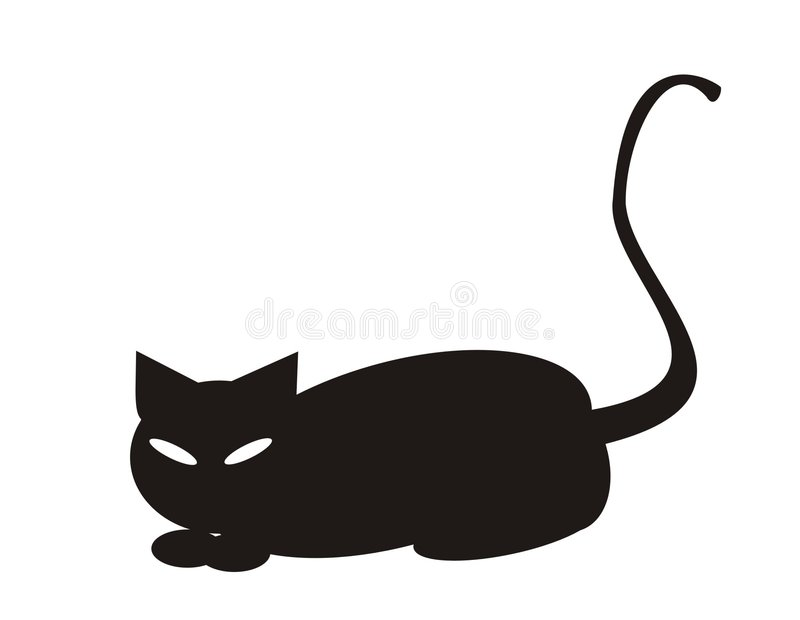 svart katt halloween vektor illustrationer