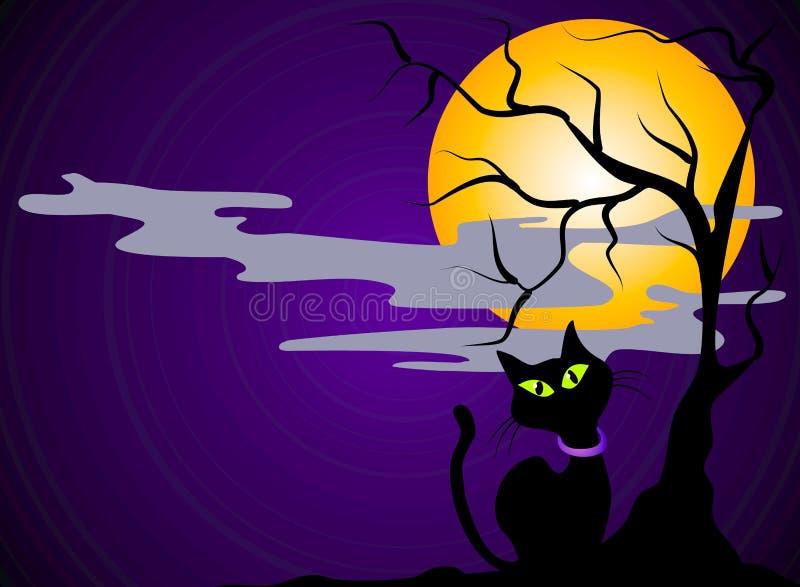 svart katt halloween för bakgrund royaltyfri illustrationer