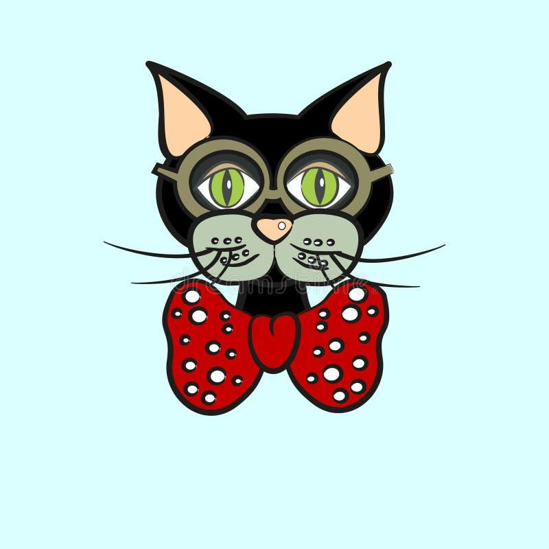 Svart katt i exponeringsglas och pilbåge royaltyfri illustrationer