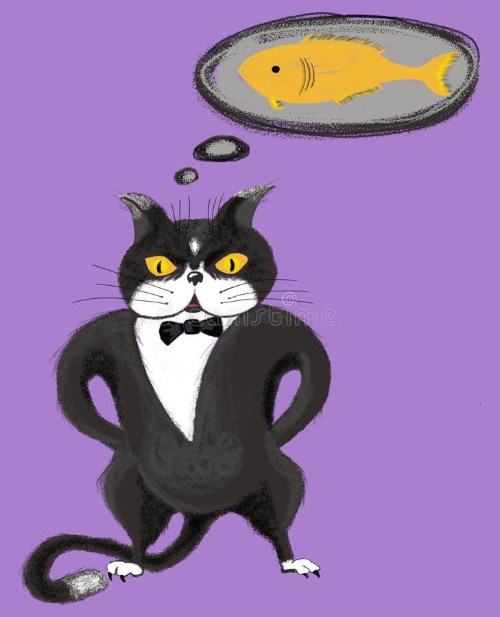 Svart katt med exponeringsglasdrömmar av en fiskdesign för barnfrihandsteckning arkivfoton