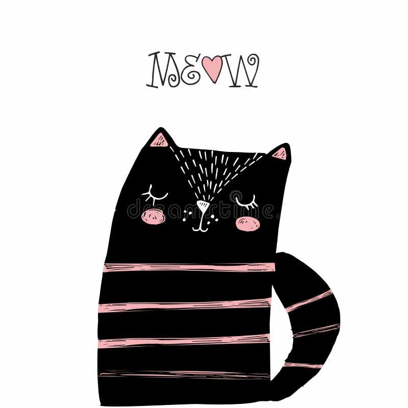 Svart katt med rosa band och en hjärta Vektorillustration för utskrift på t-skjortor, vykort, affischer, baner, sänglinne och vektor illustrationer
