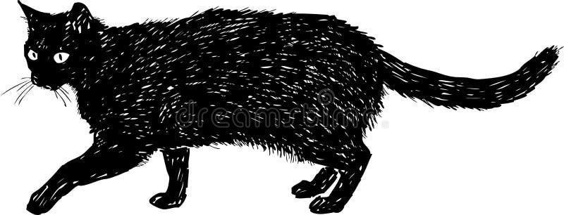 Svart katt på en gå vektor illustrationer