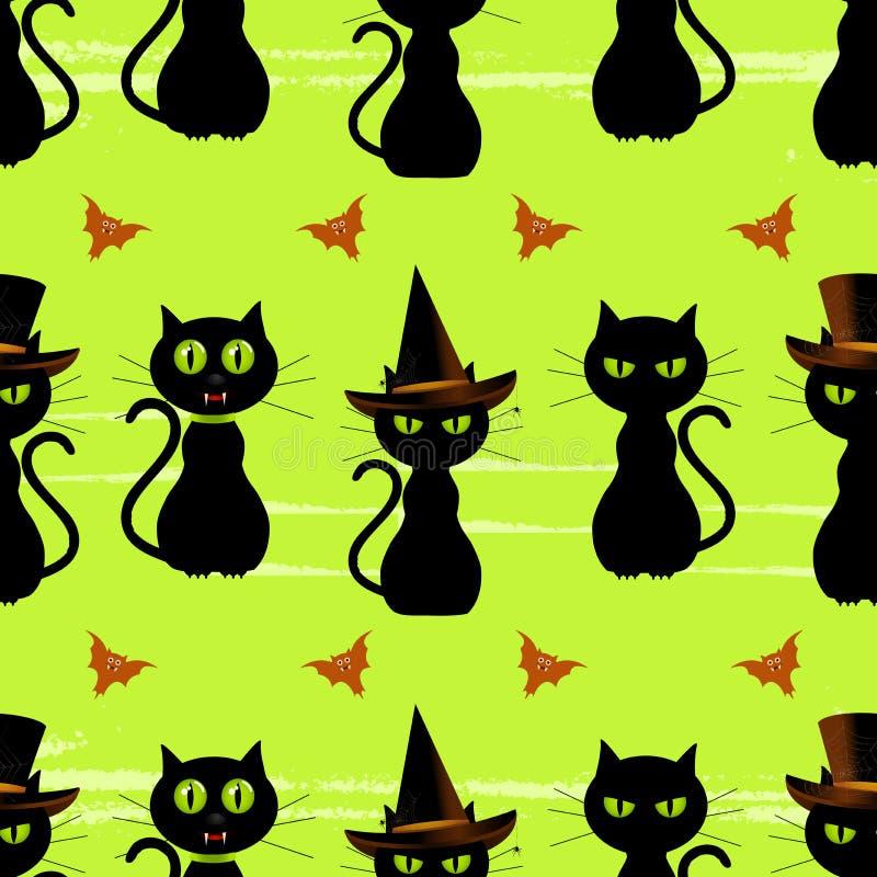 svart katt seamless halloween för bakgrund stock illustrationer