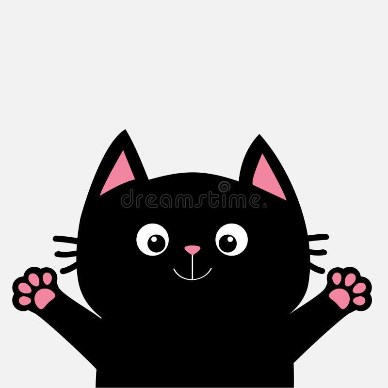 Svart katt som är klar för krama Öppna handrosa färger tafsar trycket Pott som når för en kram Roligt Kawaii djur ankomsten behan stock illustrationer