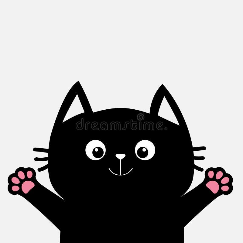Svart katt som är klar för krama Den öppna handen tafsar trycket Pott som når för en kram Roligt Kawaii djur ankomsten behandla s royaltyfri illustrationer