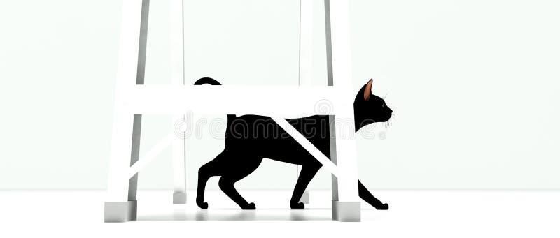 Svart katt som går under stege vektor illustrationer
