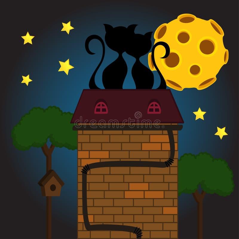 Svart katt under månen stock illustrationer