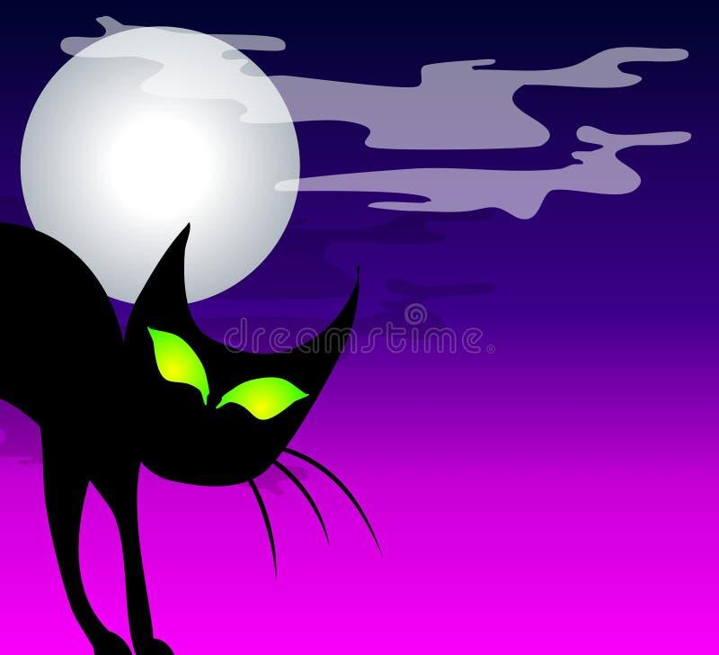 svart kattmoon för bakgrund stock illustrationer