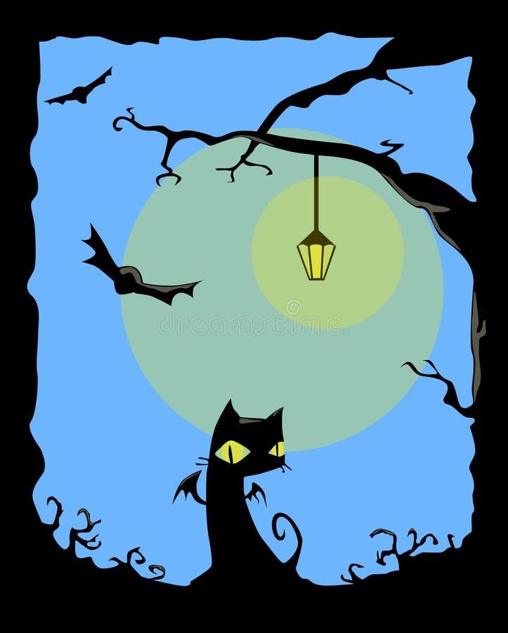 svart kattnatt royaltyfri illustrationer