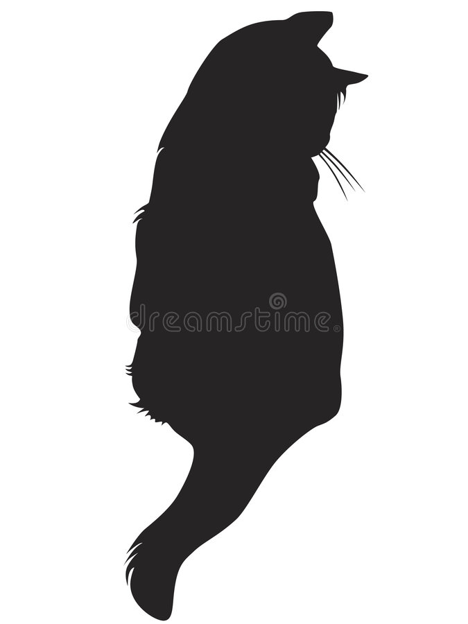 svart kattsilhouette royaltyfri illustrationer