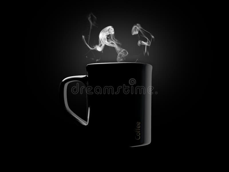 Svart keramiskt kaffe rånar isolerat på en svart stock illustrationer
