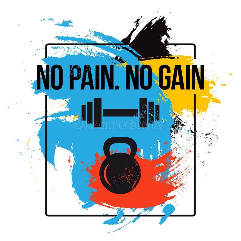 Svart kettlebell och skivstången på färgrik borstebakgrund med motivation smsar - inget smärta gain Konditioncitationstecken Vect stock illustrationer