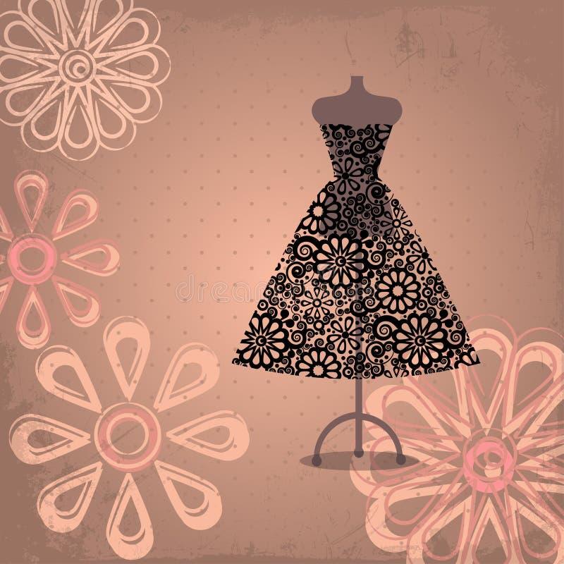 Svart klänning stock illustrationer