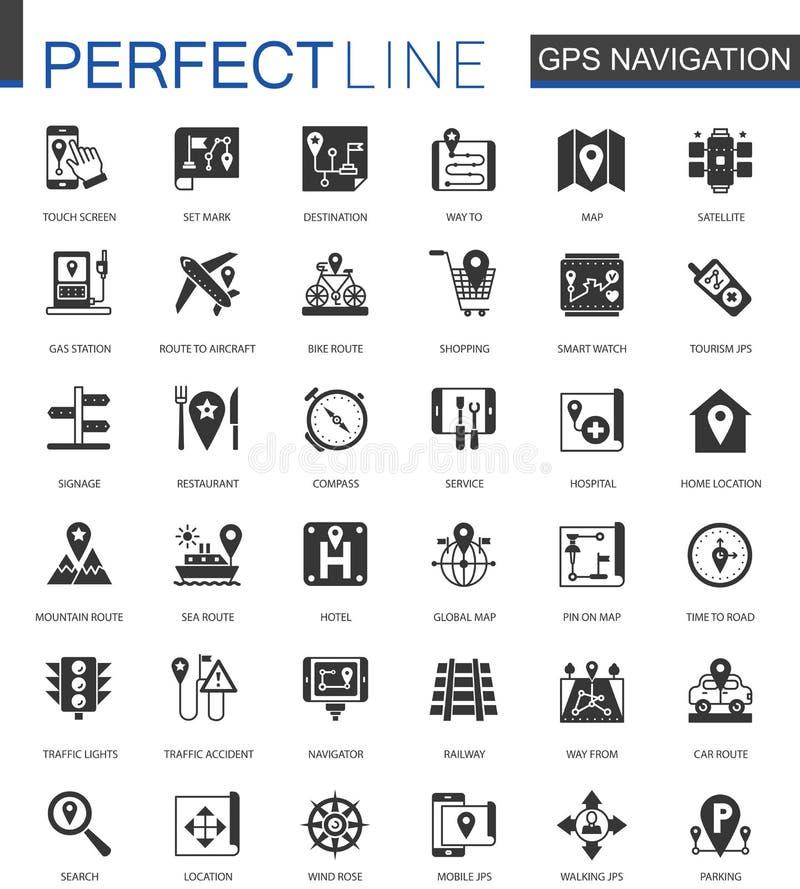 Svart klassisk navigering, riktningen, översikter och trafiksymboler ställde in för rengöringsduk royaltyfri illustrationer