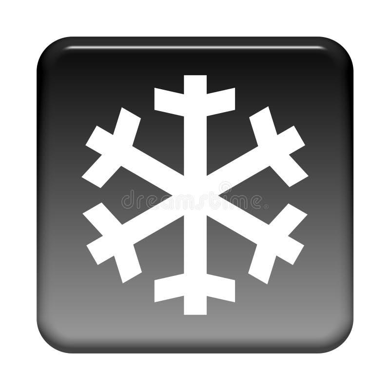 Svart knapp: Aircon eller snöflinga stock illustrationer