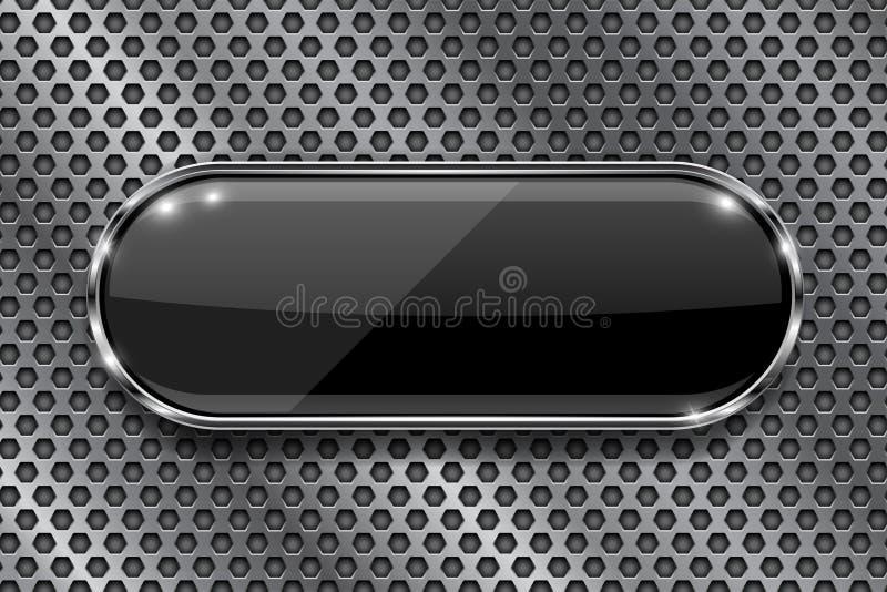 Svart knapp på perforerad bakgrund Oval symbol för exponeringsglas 3d med metallramen stock illustrationer