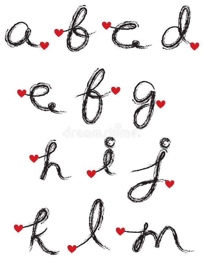 svart kol för alfabet vektor illustrationer
