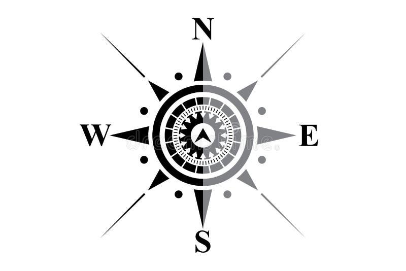 Svart kompass på vit vektor illustrationer